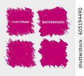 red purple brush stroke frame... | Shutterstock .eps vector #605194490