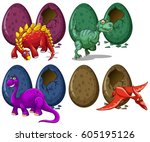different types of dragons and... | Shutterstock .eps vector #605195126