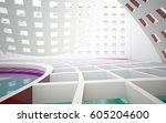 abstract white interior with... | Shutterstock . vector #605204600