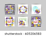 vector set of vertical spring... | Shutterstock .eps vector #605206583