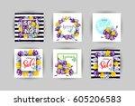 vector set of vertical spring... | Shutterstock .eps vector #605206583