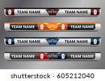 scoreboard broadcast graphic... | Shutterstock .eps vector #605212040