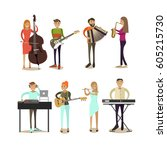 vector icons set of musician... | Shutterstock .eps vector #605215730
