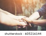 business teamwork standing... | Shutterstock . vector #605216144