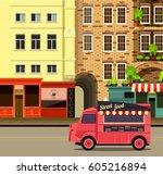illustration dinner on wheels... | Shutterstock . vector #605216894