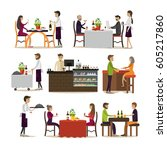 vector set of pub and... | Shutterstock .eps vector #605217860