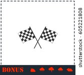 racing flag icon flat. simple... | Shutterstock .eps vector #605221808