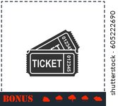 ticket icon flat. simple vector ... | Shutterstock .eps vector #605222690