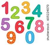 numbers from zero to nine....   Shutterstock .eps vector #605224070