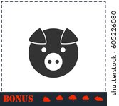pig icon flat. simple vector... | Shutterstock .eps vector #605226080