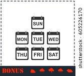 calendar icon flat. simple... | Shutterstock .eps vector #605226170