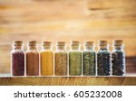 spices in jars on wooden... | Shutterstock . vector #605232008