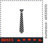 tie icon flat. simple vector... | Shutterstock .eps vector #605233253