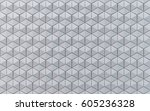 white hexahedron mosaic... | Shutterstock . vector #605236328