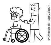 old lady and wheelchair. vector ... | Shutterstock .eps vector #605238074