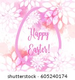 happy easter background. with... | Shutterstock .eps vector #605240174