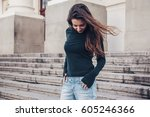 fashion model wearing blank... | Shutterstock . vector #605246366