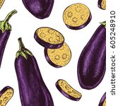 seamless pattern with eggplant. ... | Shutterstock .eps vector #605248910