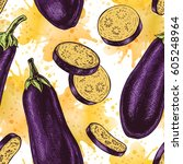 seamless pattern with eggplant. ... | Shutterstock .eps vector #605248964