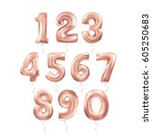 metallic pinkletter balloons 123 | Shutterstock .eps vector #605250683