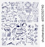 mega collection of hand drawn... | Shutterstock .eps vector #605250740