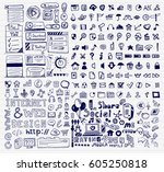 mega collection of hand drawn... | Shutterstock .eps vector #605250818