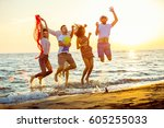 group of happy young people...   Shutterstock . vector #605255033