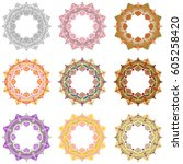 vector set mandala different... | Shutterstock .eps vector #605258420
