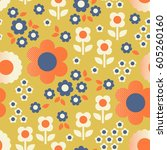 seamless retro pattern with... | Shutterstock .eps vector #605260160