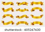 golden ribbon banner set.vector ... | Shutterstock .eps vector #605267630