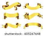 golden ribbon banner set.vector ... | Shutterstock .eps vector #605267648