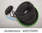 process of knitting a scarf... | Shutterstock . vector #605270390