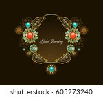 frame with ethnic gold jewelery ... | Shutterstock .eps vector #605273240