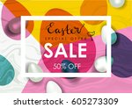easter sale vector illustration.... | Shutterstock .eps vector #605273309