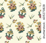 old school seamless pattern.... | Shutterstock .eps vector #605273828
