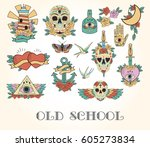 set of old school tattoo sketch.... | Shutterstock .eps vector #605273834