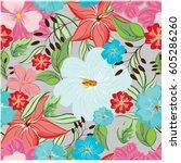 vector seamless pattern flowers ... | Shutterstock .eps vector #605286260