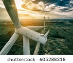 wind turbine from aerial view   ... | Shutterstock . vector #605288318