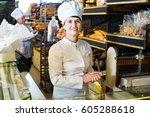 portrait of friendly female... | Shutterstock . vector #605288618