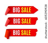set of sale banners. red... | Shutterstock .eps vector #605290928