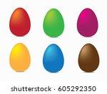 easter eggs. red  green  purple ... | Shutterstock .eps vector #605292350