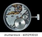 mechanism of wrist watch ... | Shutterstock . vector #605293010