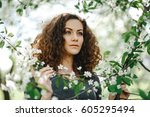 portrait of young woman in ... | Shutterstock . vector #605295494