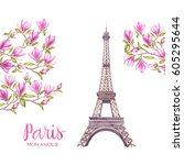 eiffel tower with spring...   Shutterstock . vector #605295644