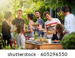 young people having fun on the... | Shutterstock . vector #605296550