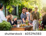 young people having fun on the... | Shutterstock . vector #605296583