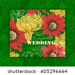 card for invitation with floral ...   Shutterstock .eps vector #605296664