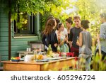 young people having fun on the...   Shutterstock . vector #605296724