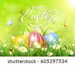 easter theme with a flying... | Shutterstock .eps vector #605297534