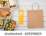 plastic cutlery and a paper bag ... | Shutterstock . vector #605298824